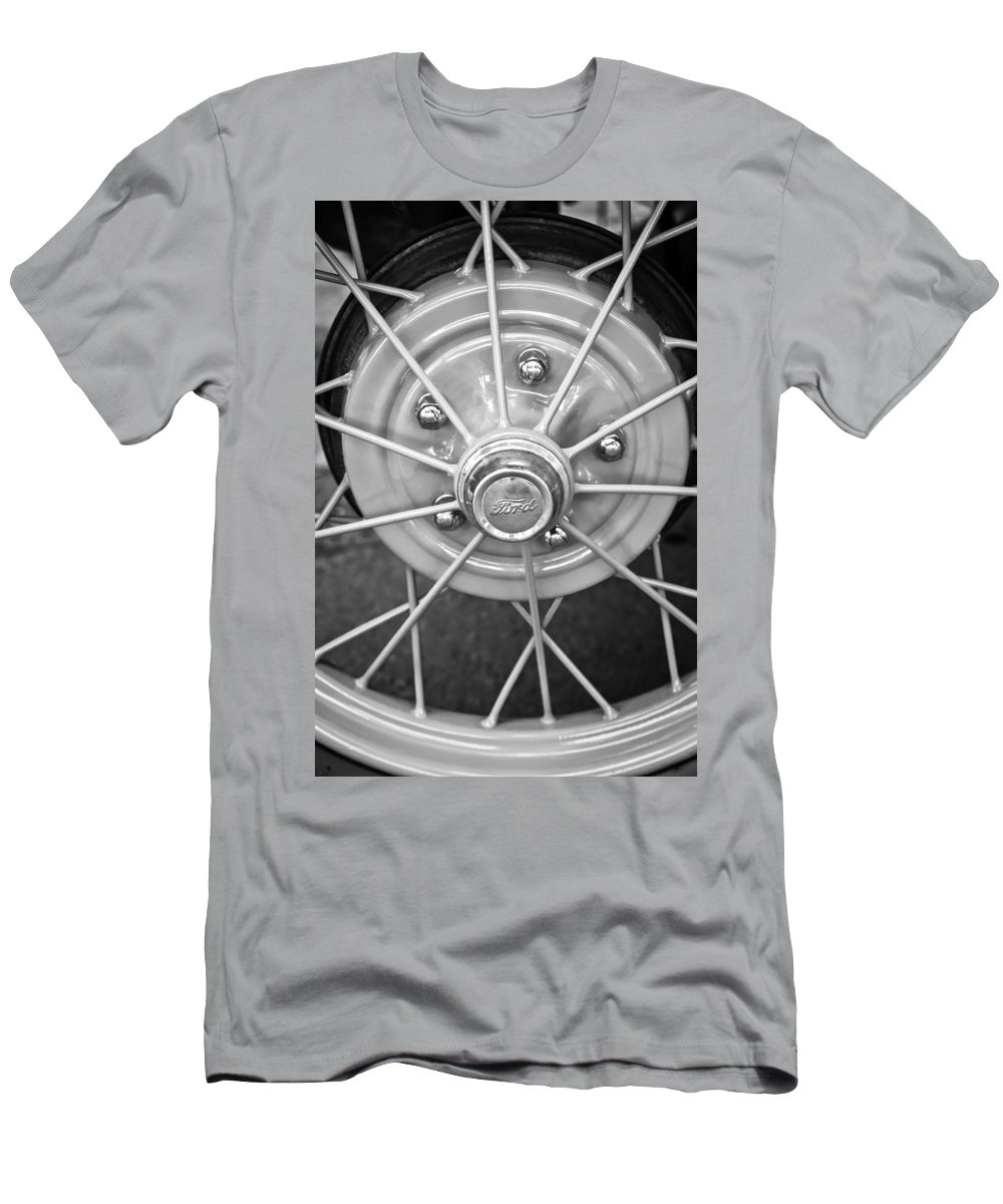 Ford Wheel Emblem Men's T-Shirt (Athletic Fit) featuring the photograph Ford Wheel Emblem -354bw by Jill Reger