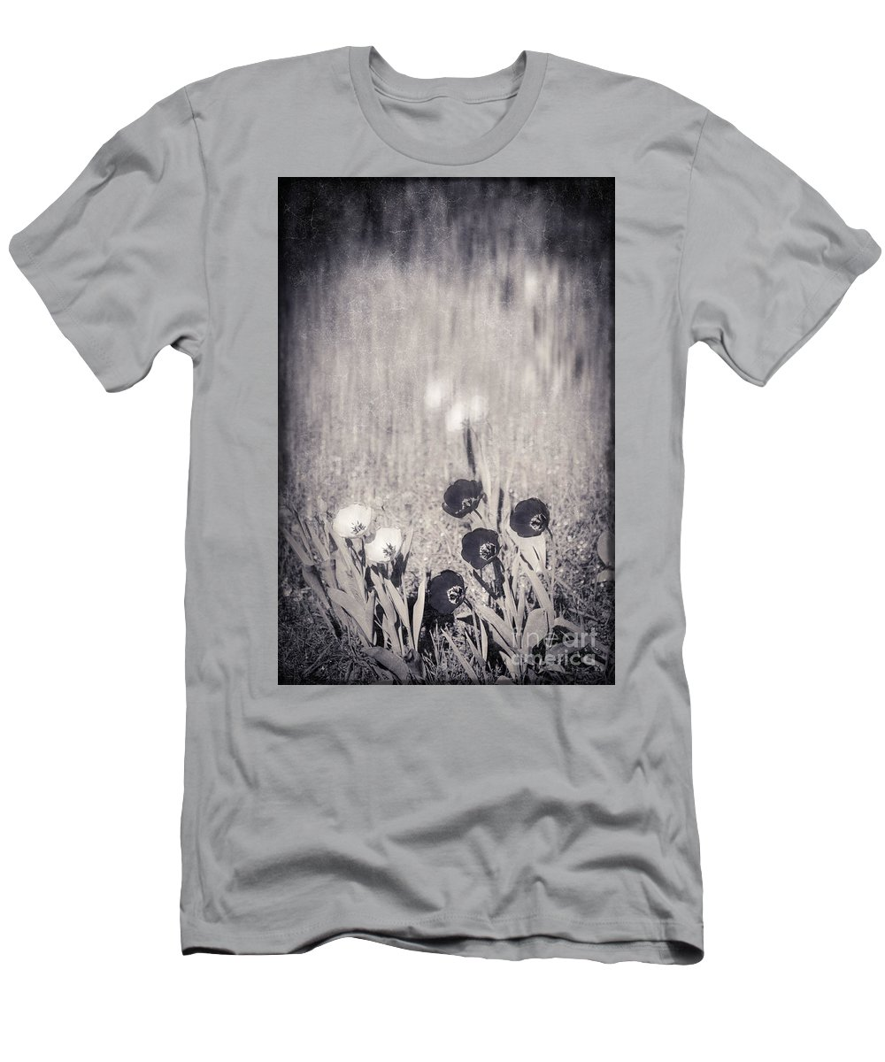 Tulips Men's T-Shirt (Athletic Fit) featuring the photograph Four Red Tulips And Two Yellow Ones by Silvia Ganora