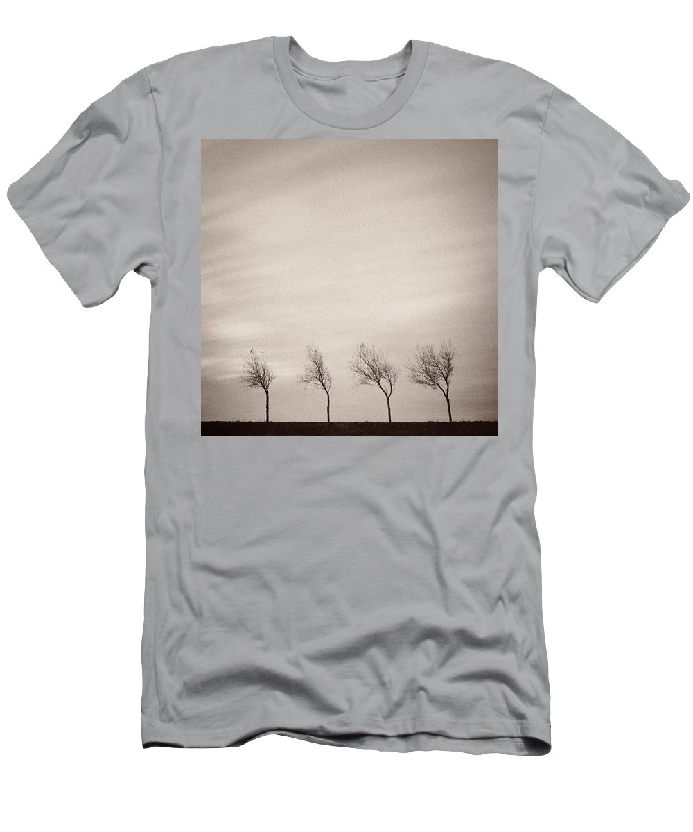 Trees Men's T-Shirt (Athletic Fit) featuring the photograph Four Trees by Dave Bowman