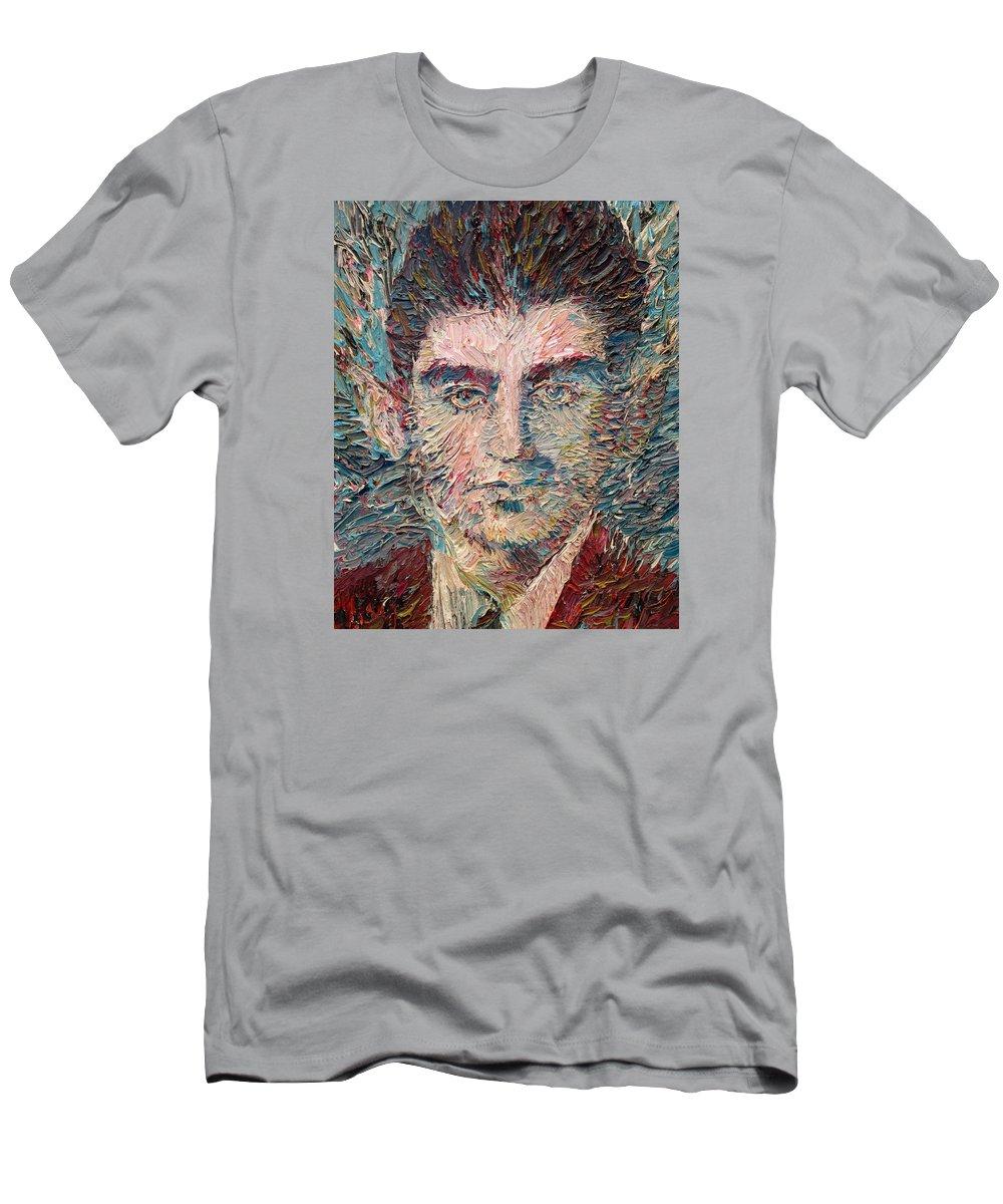 Franz Men's T-Shirt (Athletic Fit) featuring the painting Franz Kafka Oil Portrait by Fabrizio Cassetta