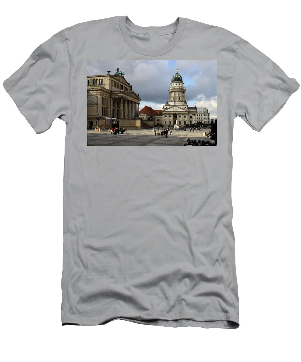 Cathedral Men's T-Shirt (Athletic Fit) featuring the photograph French Cathedral And Concert Hall - Berlin by Christiane Schulze Art And Photography