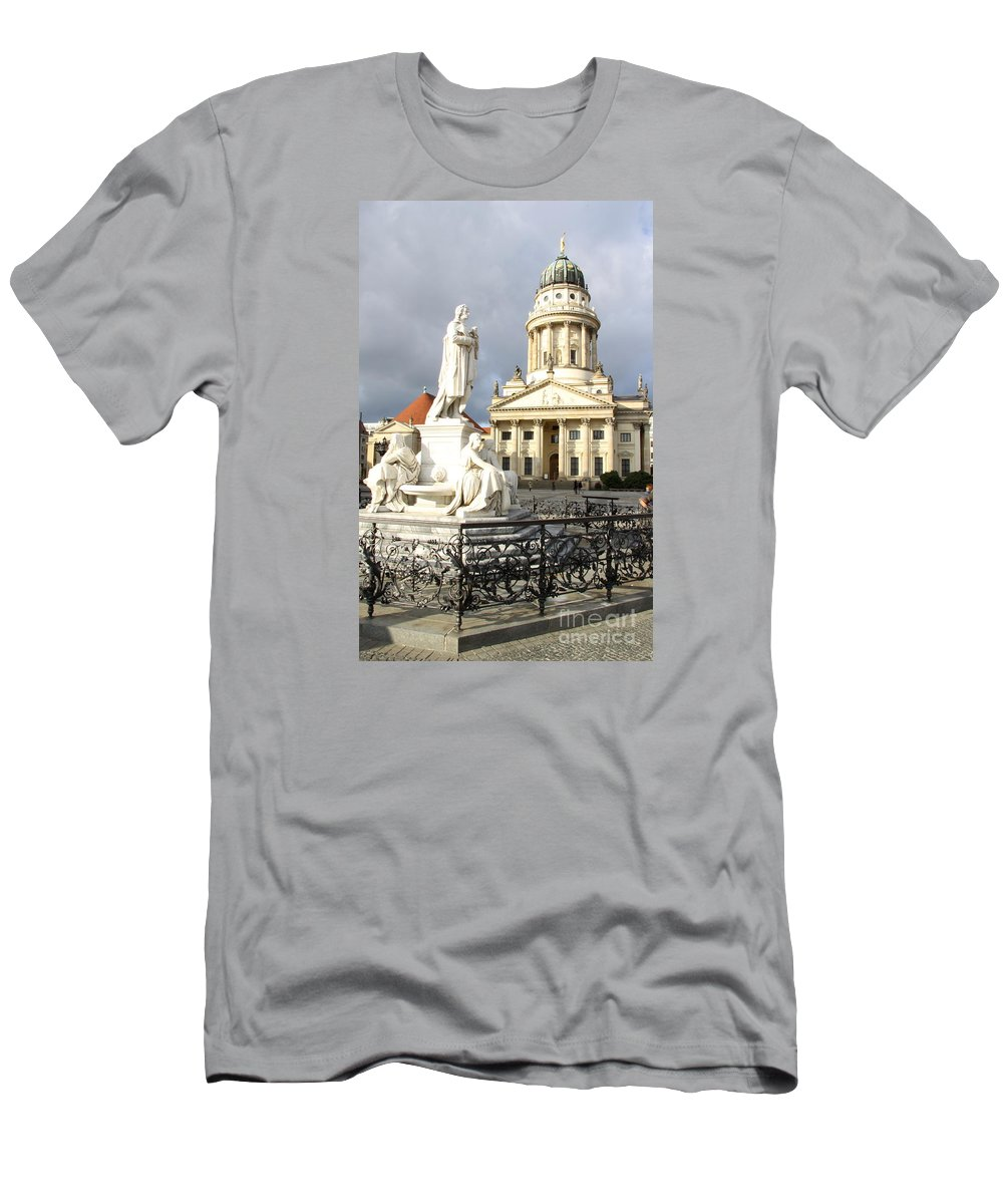 Cathedral Men's T-Shirt (Athletic Fit) featuring the photograph French Cathedral And Statue Gendarmenmarkt Germany by Christiane Schulze Art And Photography