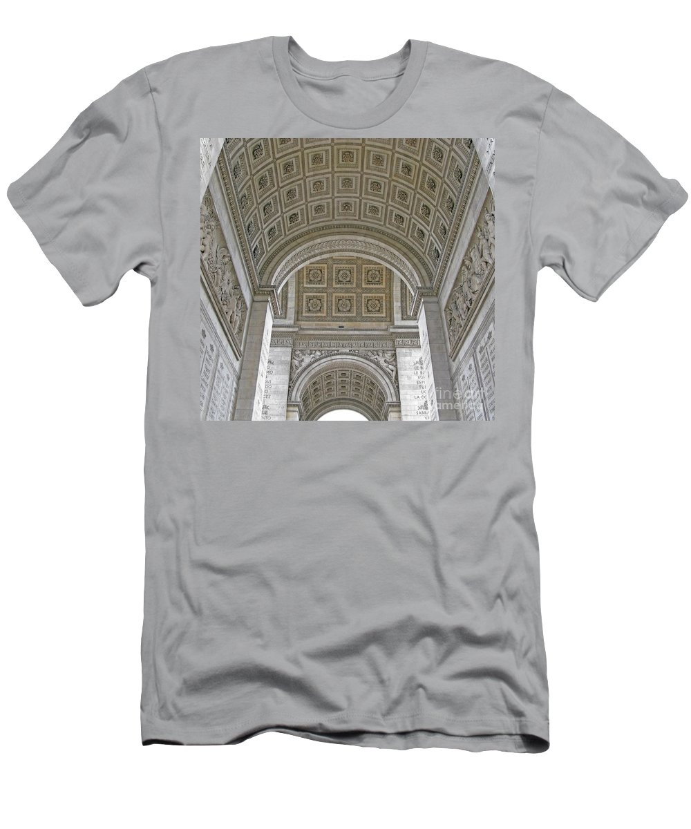 Arc De Triomphe Men's T-Shirt (Athletic Fit) featuring the photograph French History by Ann Horn