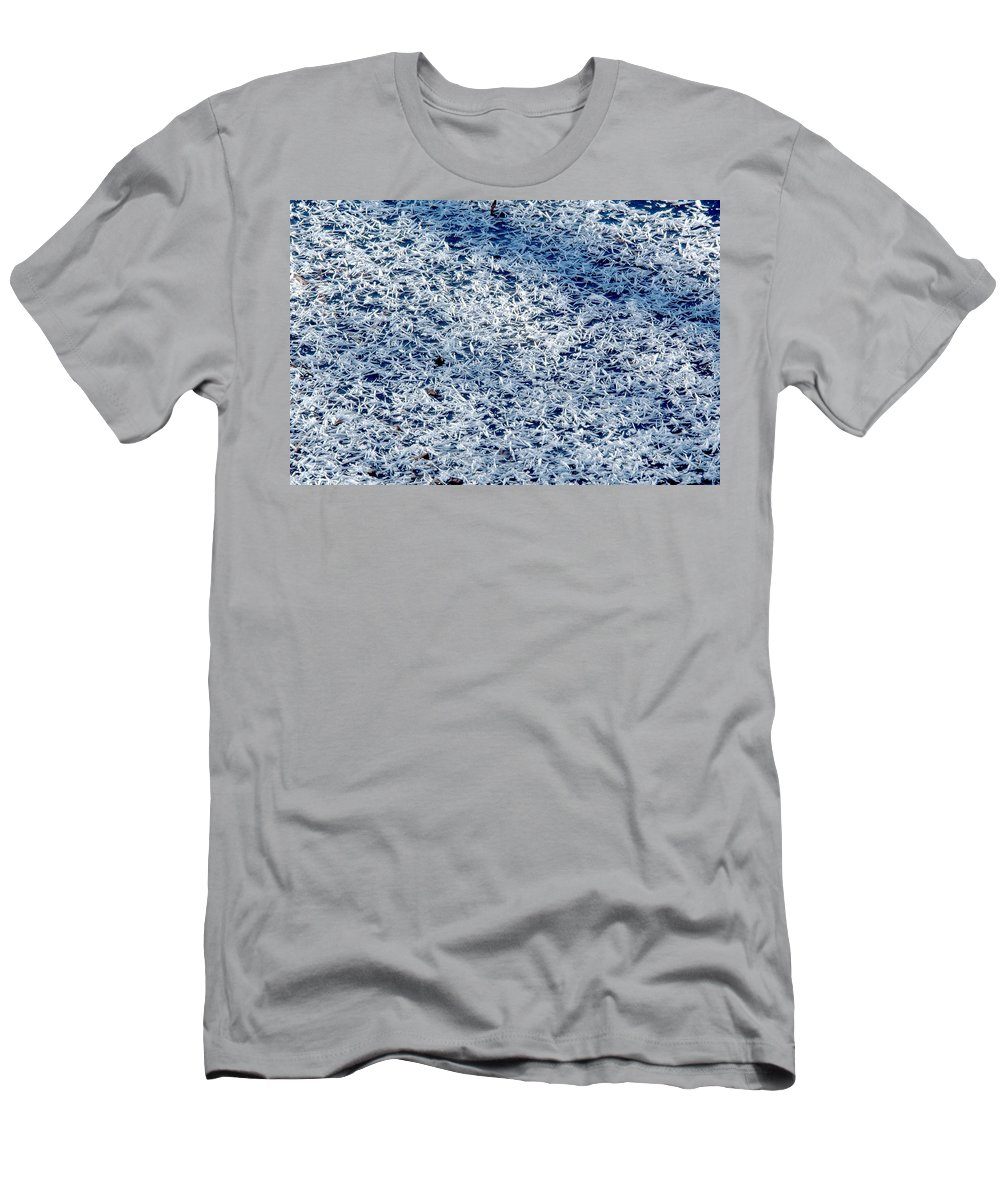 Frost Men's T-Shirt (Athletic Fit) featuring the photograph Frost Flakes On Ice - 32 by Larry Jost