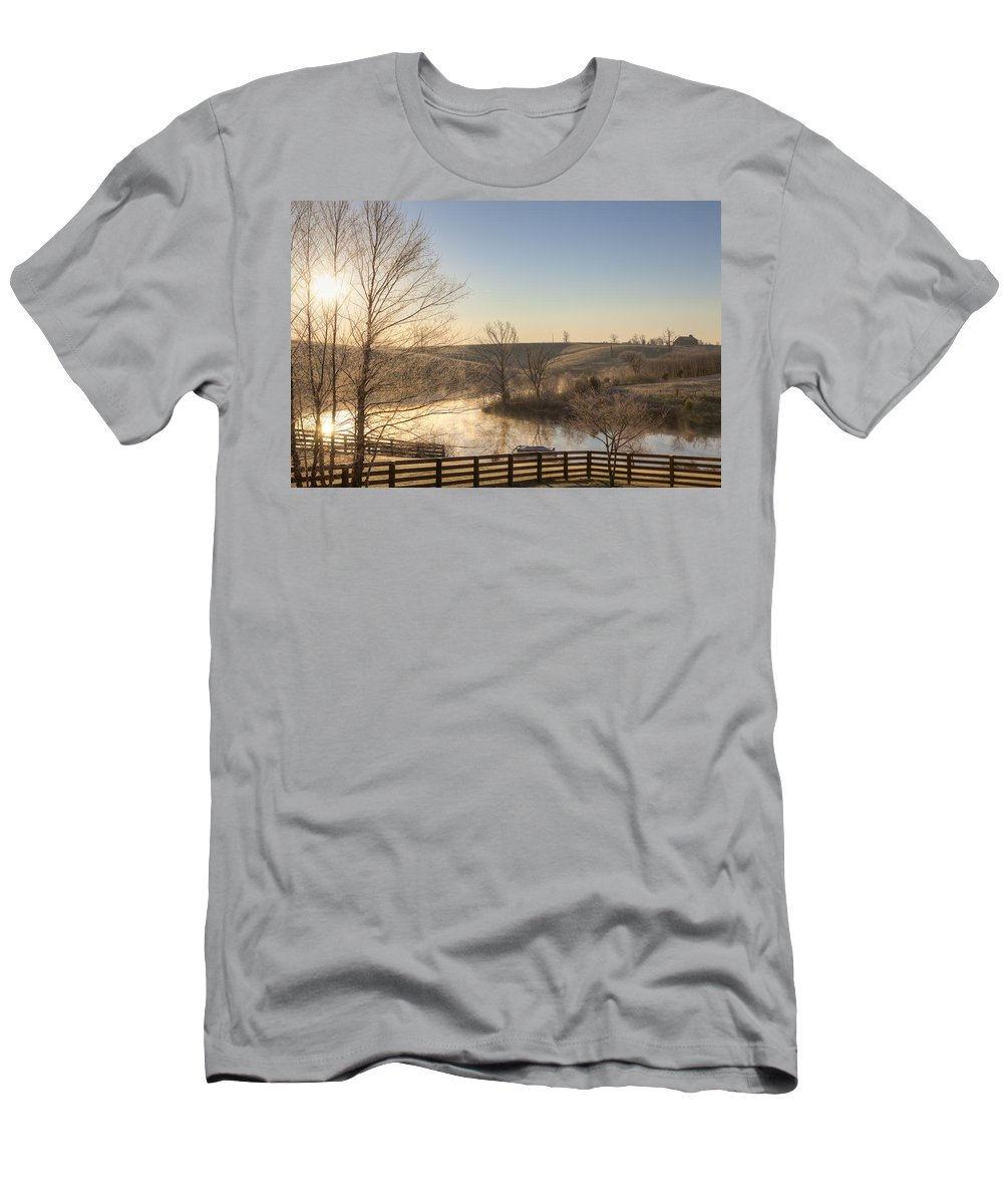 Sunrise Men's T-Shirt (Athletic Fit) featuring the photograph Frosty Sunrise by Alexey Stiop