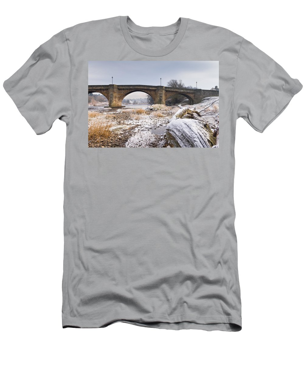 Northumberland Men's T-Shirt (Athletic Fit) featuring the photograph Frosty Tyne by David Head