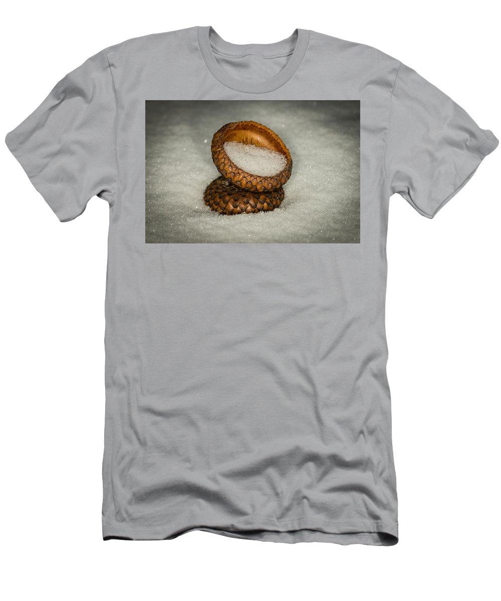 Nature Photograph Men's T-Shirt (Athletic Fit) featuring the photograph Frozen Acorn Cupule by Paul Freidlund