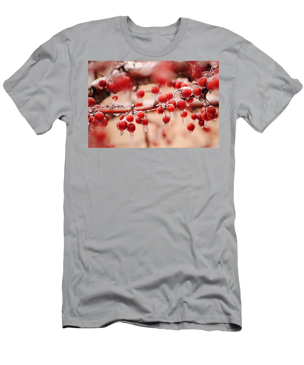 Cherries Men's T-Shirt (Athletic Fit) featuring the photograph Frozen Berries by Frozen in Time Fine Art Photography