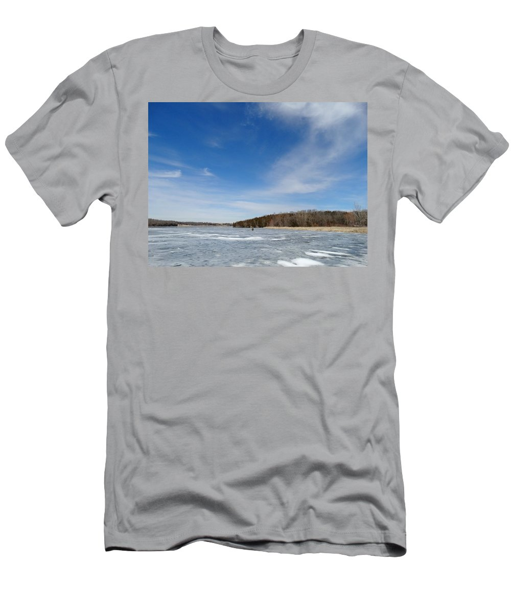 Cloud Men's T-Shirt (Athletic Fit) featuring the photograph Frozen Lake by Greg Boutz