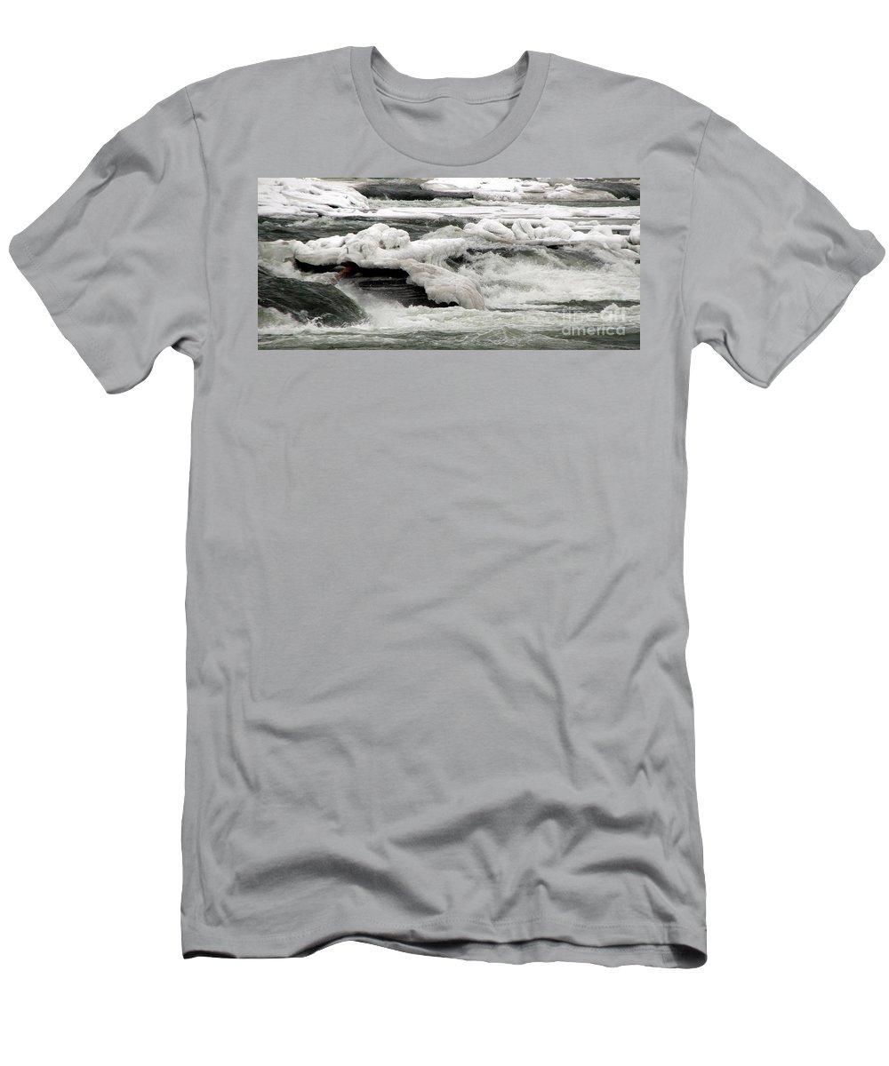 Rapids Men's T-Shirt (Athletic Fit) featuring the photograph Frozen Niagara River Rapids Above Niagara Falls by Rose Santuci-Sofranko
