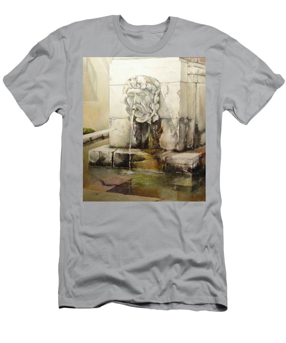 Fuente De San Isidoro- Leon T-Shirt featuring the painting Fuente de San Isidoro by Tomas Castano