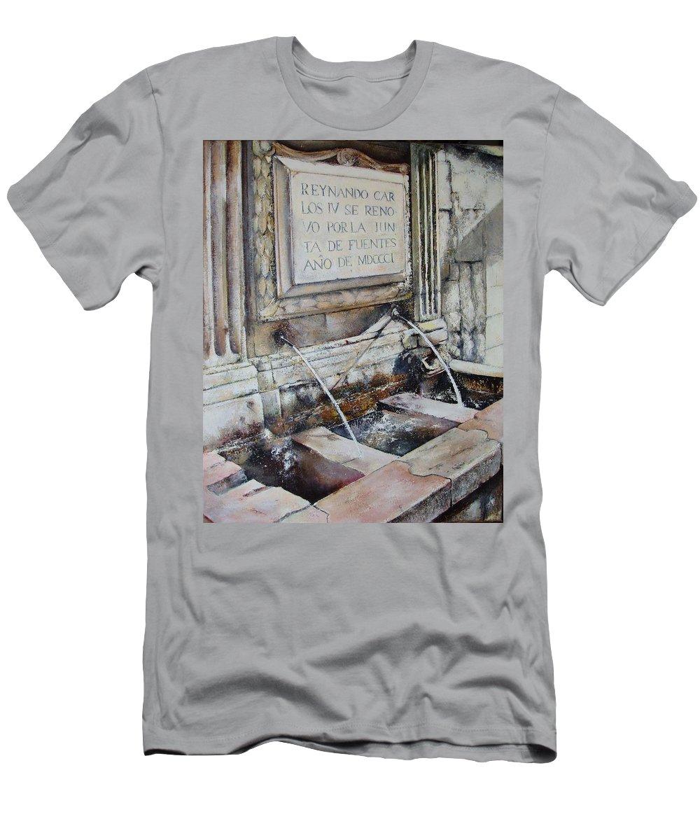 Fuente De San Martin. Leon T-Shirt featuring the painting Fuente de San Martin by Tomas Castano