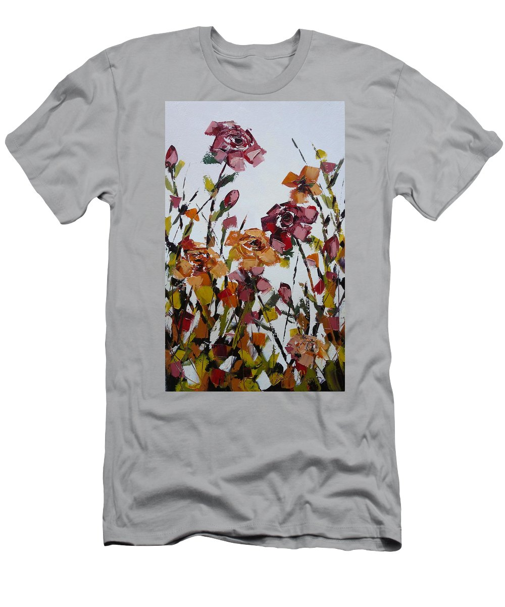 Flowers Men's T-Shirt (Athletic Fit) featuring the painting Full Bloom by Yvonne Ankerman
