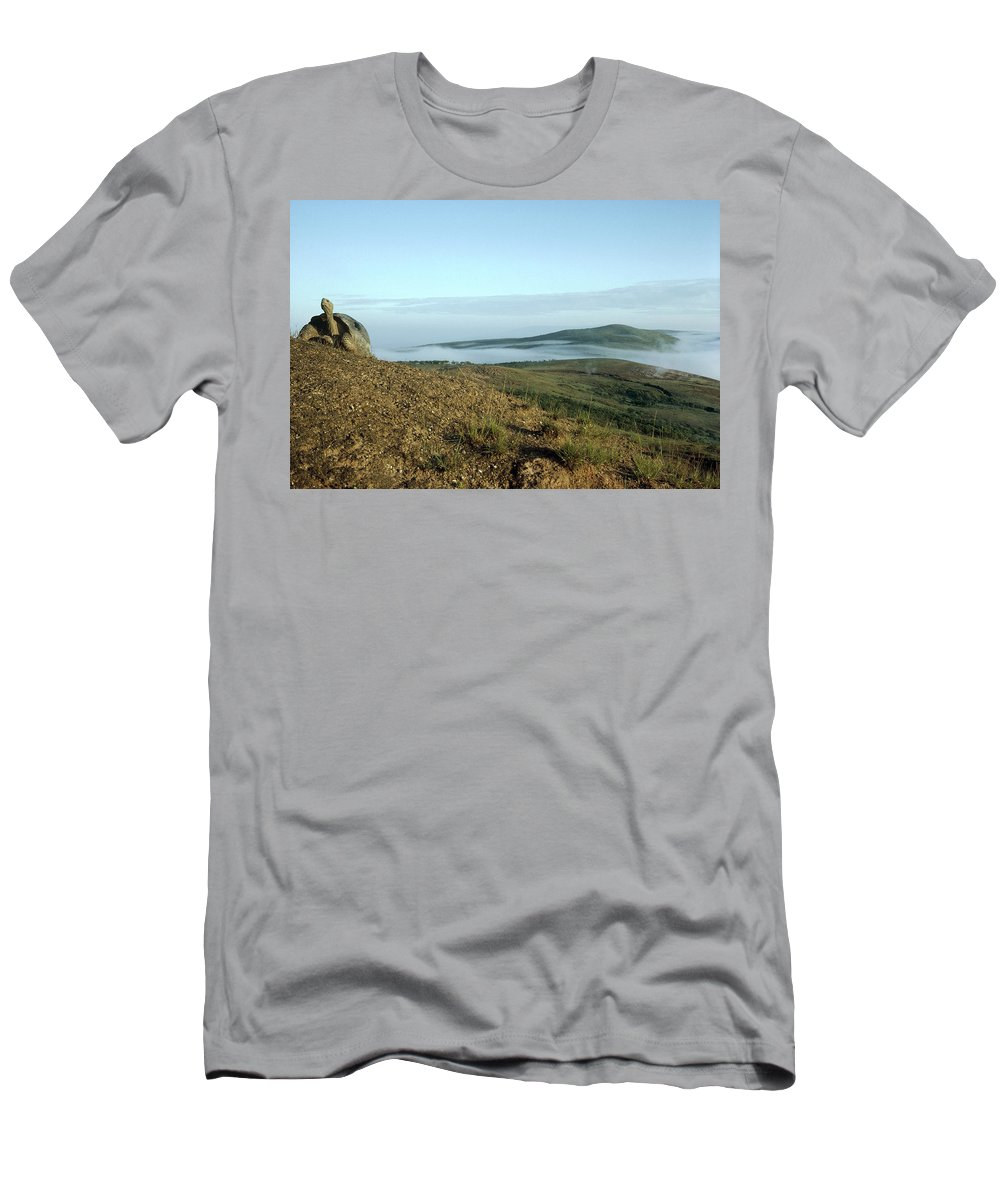 Feb0514 Men's T-Shirt (Athletic Fit) featuring the photograph Galapagos Giant Tortoise On Caldera Rim by Tui De Roy