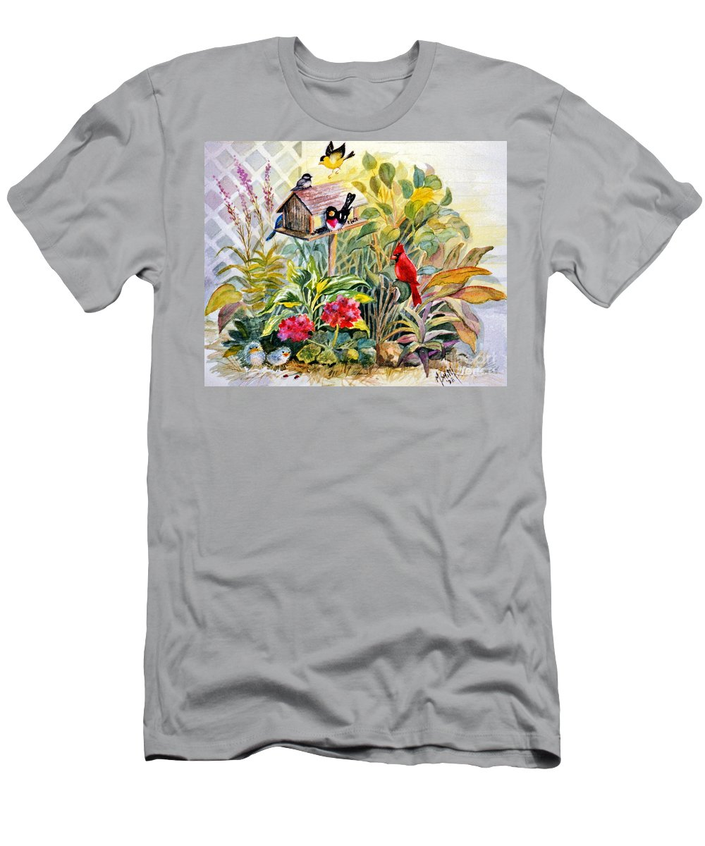 Birds T-Shirt featuring the painting Garden Birds by Marilyn Smith