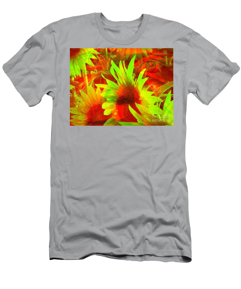 Sunflowers Men's T-Shirt (Athletic Fit) featuring the digital art Garden Guardian 4 by Elizabeth McTaggart