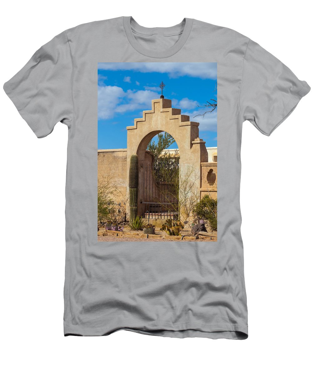 1797 Men's T-Shirt (Athletic Fit) featuring the photograph Gate At San Xavier Del Bac by Ed Gleichman