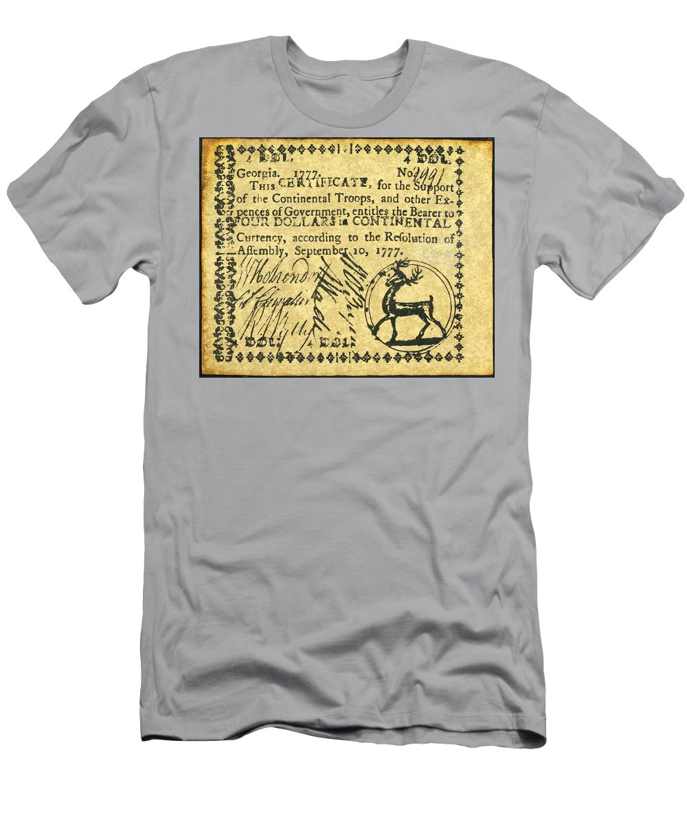 1777 Men's T-Shirt (Athletic Fit) featuring the photograph Georgia Banknote, 1777 by Granger