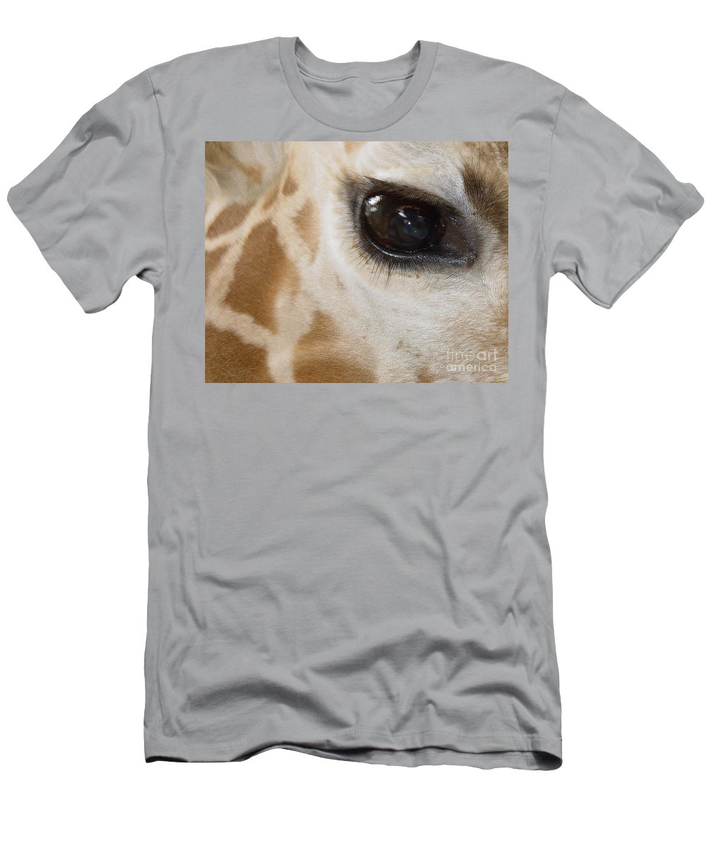 Giraffe Men's T-Shirt (Athletic Fit) featuring the photograph Giraffe Eye by Heather Coen