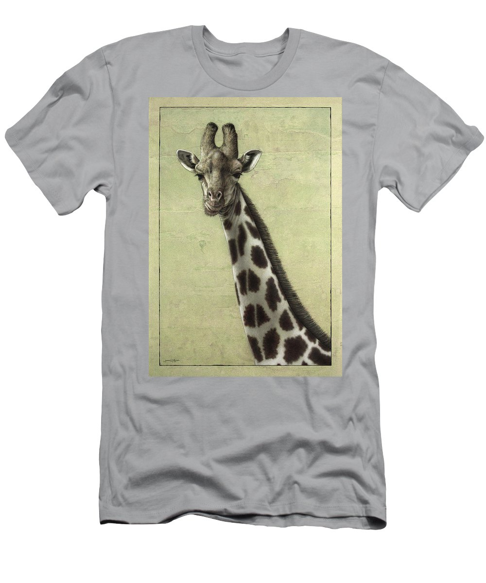 Giraffe Men's T-Shirt (Athletic Fit) featuring the painting Giraffe by James W Johnson