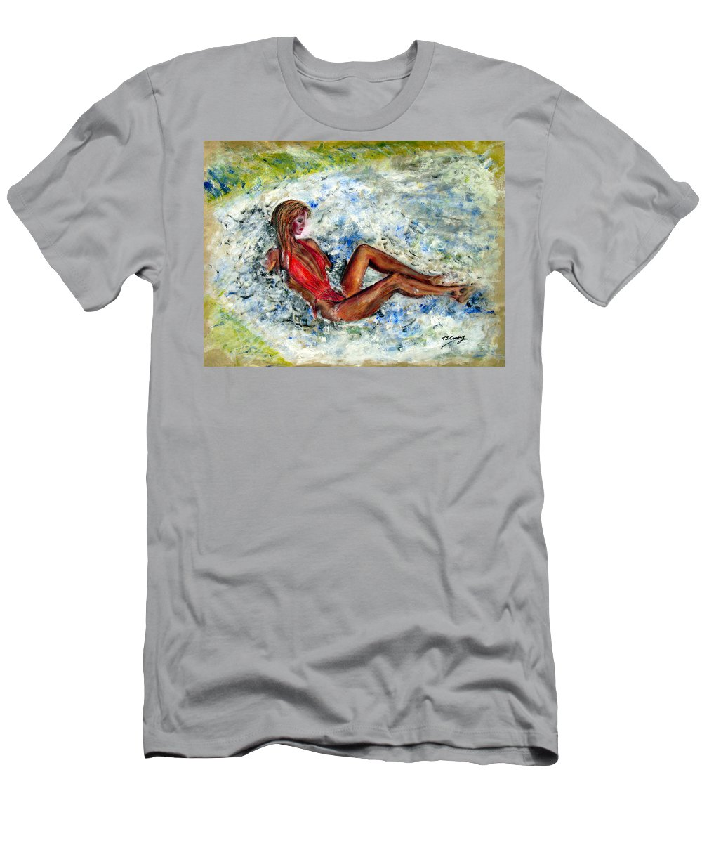 Girl Men's T-Shirt (Athletic Fit) featuring the painting Girl In A Red Swimsuit by Tom Conway