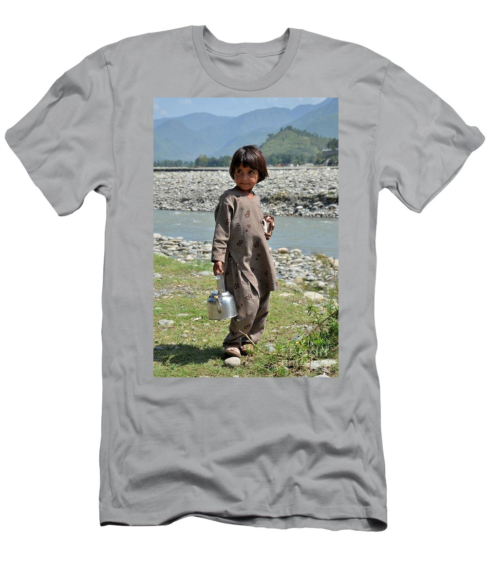 Girl Men's T-Shirt (Athletic Fit) featuring the photograph Girl Poses For Camera by Imran Ahmed