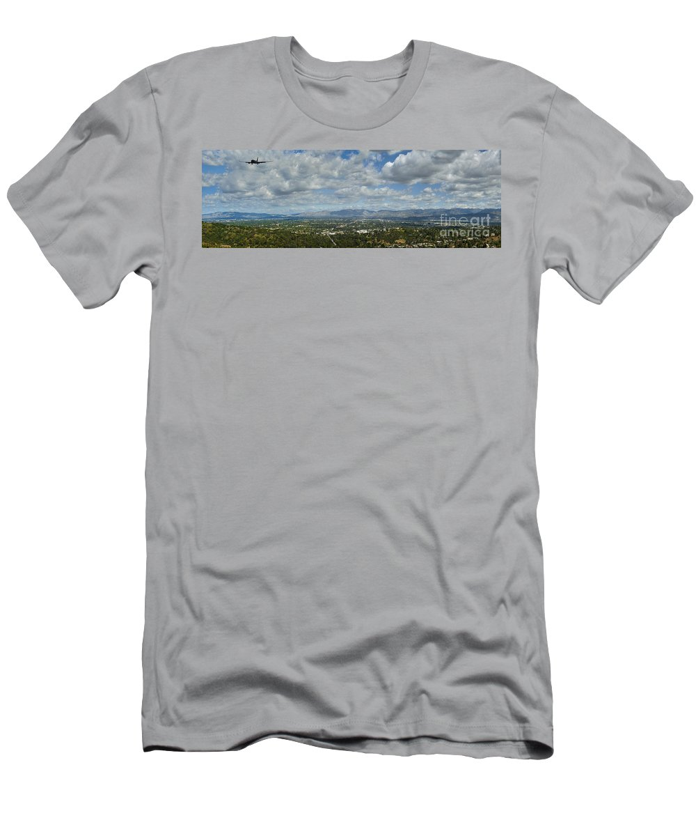 San Fernando Valley Men's T-Shirt (Athletic Fit) featuring the photograph Going Places Cloudy Blue Sky Panoramic by David Zanzinger