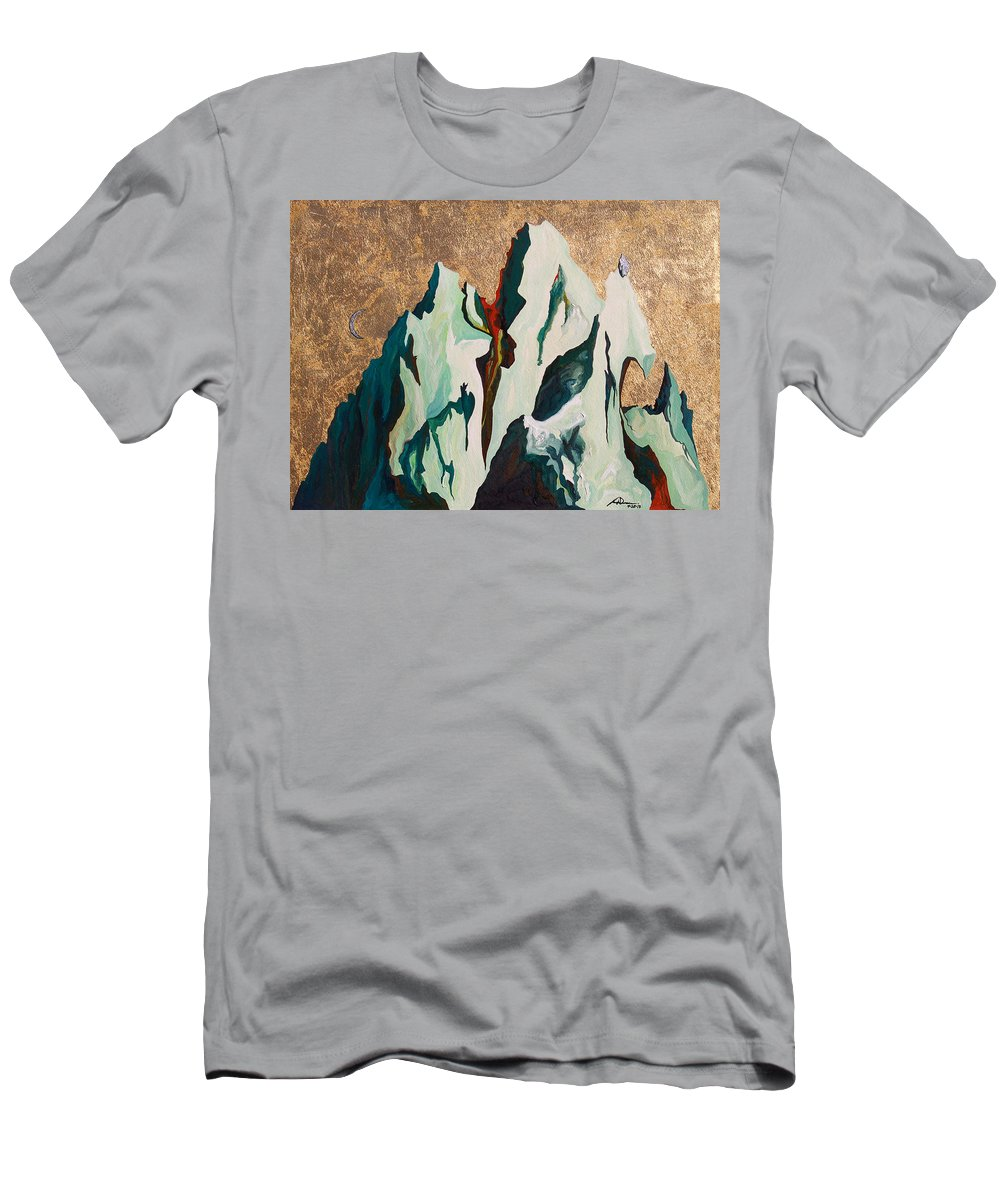 Mountains Men's T-Shirt (Athletic Fit) featuring the painting Gold Mountain by Joseph Demaree