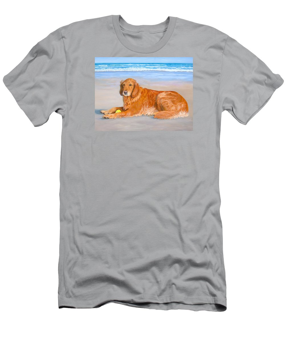 Karen Zuk Rosenblatt Art And Photography T-Shirt featuring the painting Golden Murphy by Karen Zuk Rosenblatt