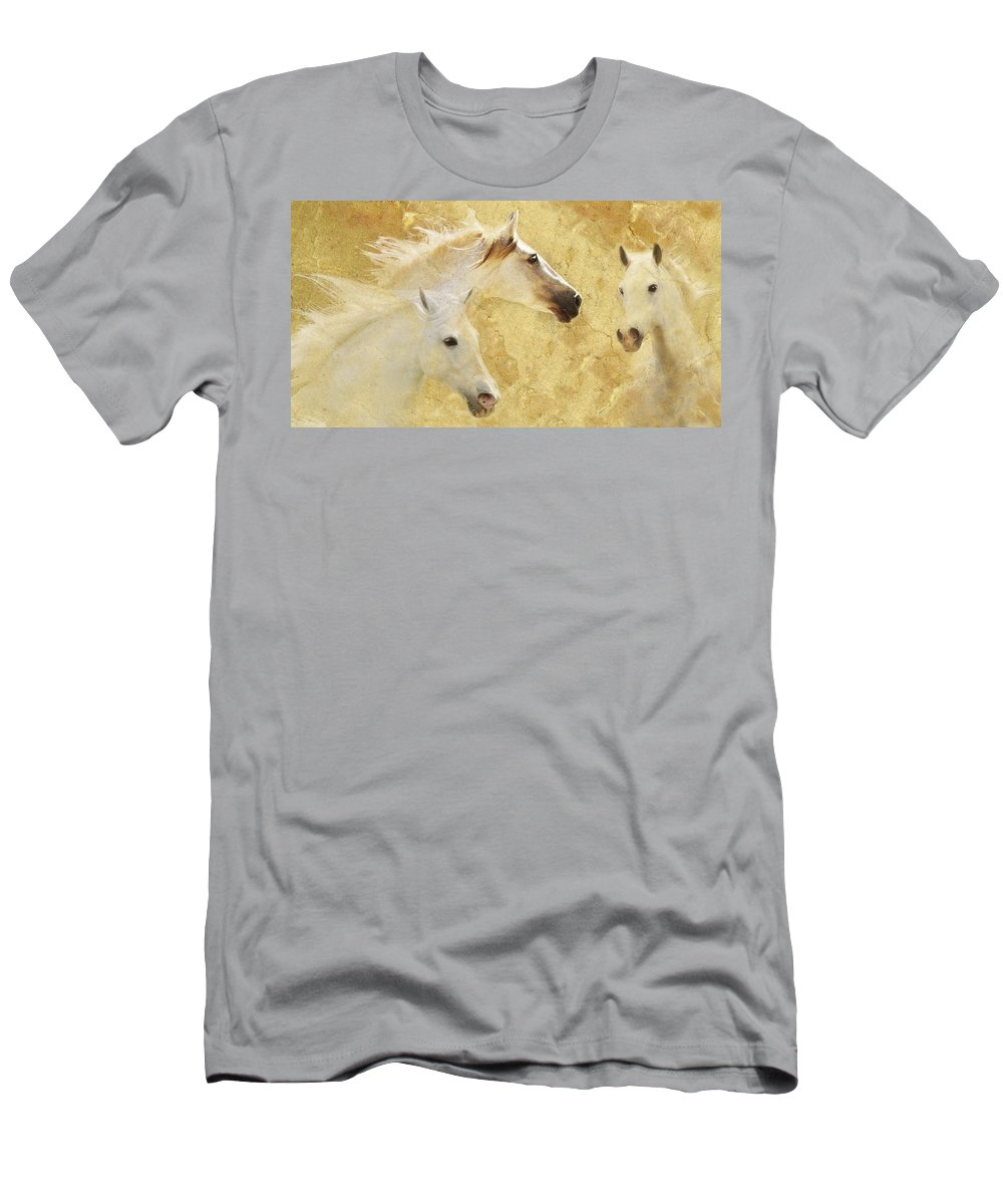 Golden Horses Men's T-Shirt (Athletic Fit) featuring the photograph Golden Steeds by Melinda Hughes-Berland