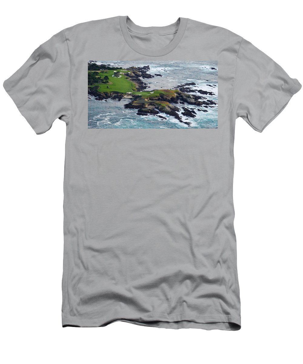 Photography Men's T-Shirt (Athletic Fit) featuring the photograph Golf Course On An Island, Pebble Beach by Panoramic Images