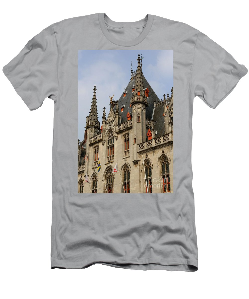 Bruges Men's T-Shirt (Athletic Fit) featuring the photograph Gothic Bruges by Carol Groenen