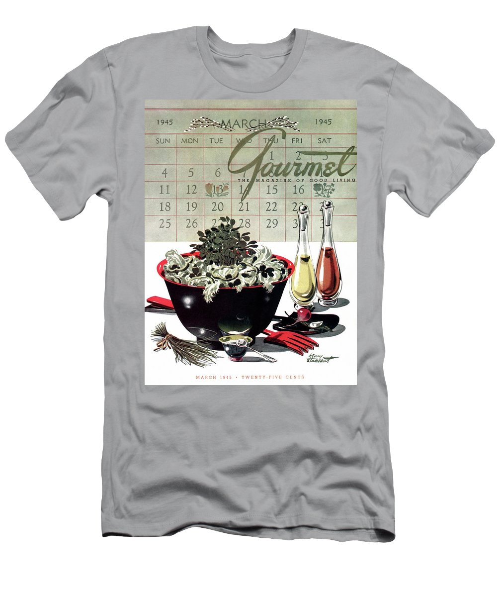 Illustration Men's T-Shirt (Athletic Fit) featuring the photograph Gourmet Cover Illustration Of A Bowl Of Salad by Henry Stahlhut