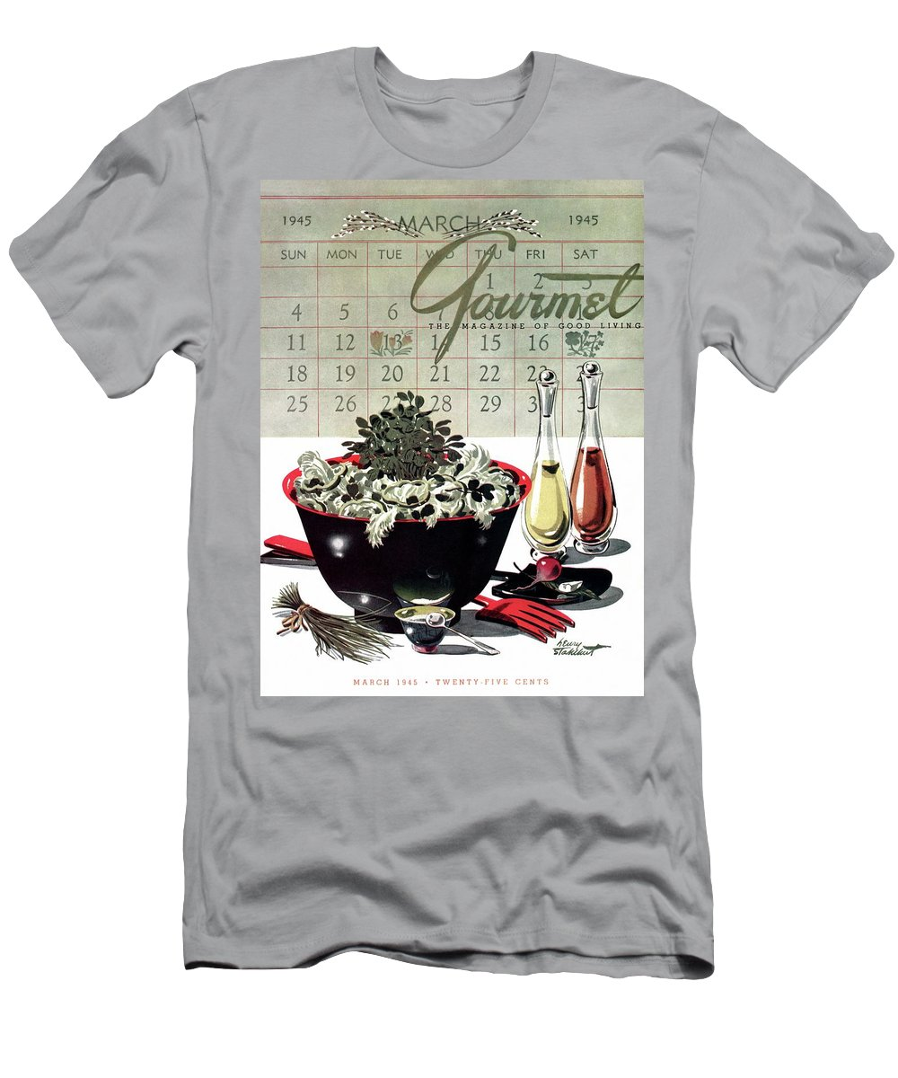 Illustration T-Shirt featuring the photograph Gourmet Cover Illustration Of A Bowl Of Salad by Henry Stahlhut