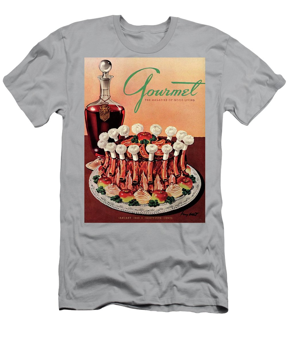 Illustration Men's T-Shirt (Athletic Fit) featuring the photograph Gourmet Cover Illustration Of A Crown Roast by Henry Stahlhut