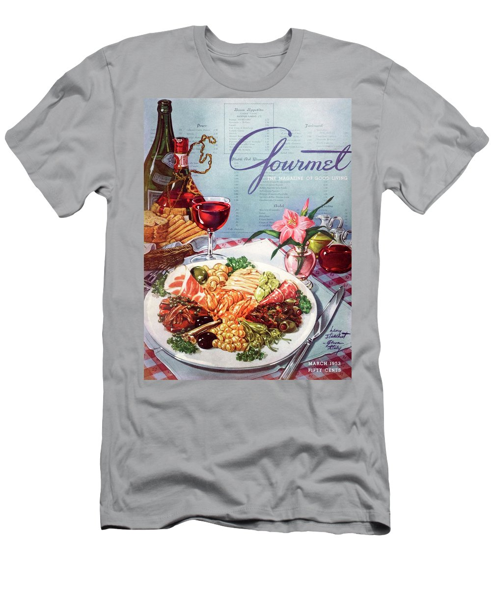 Food Men's T-Shirt (Athletic Fit) featuring the photograph Gourmet Cover Illustration Of A Plate Of Antipasto by Henry Stahlhut
