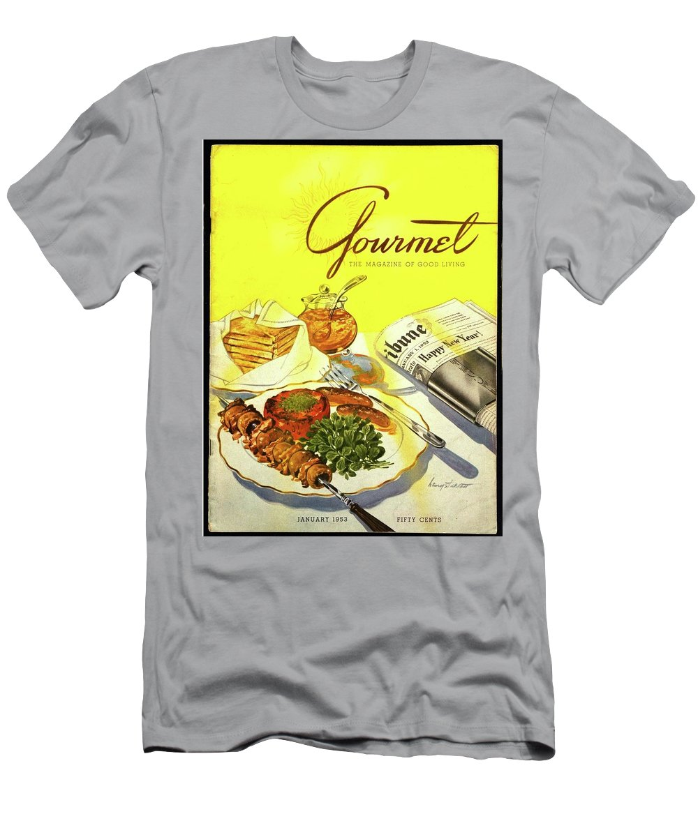 Illustration Men's T-Shirt (Athletic Fit) featuring the photograph Gourmet Cover Illustration Of Grilled Breakfast by Henry Stahlhut