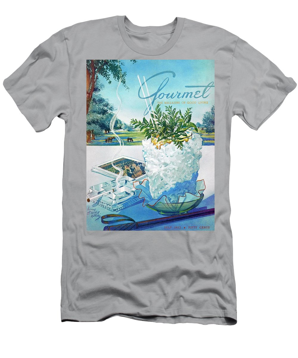 Food Men's T-Shirt (Athletic Fit) featuring the photograph Gourmet Cover Illustration Of Mint Julep Packed by Henry Stahlhut