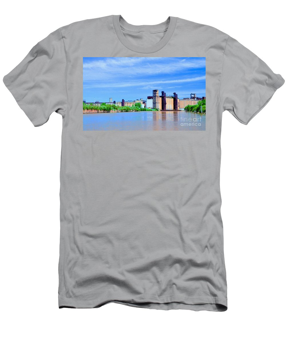 Blue Men's T-Shirt (Athletic Fit) featuring the photograph Grain Mills by Kathleen Struckle
