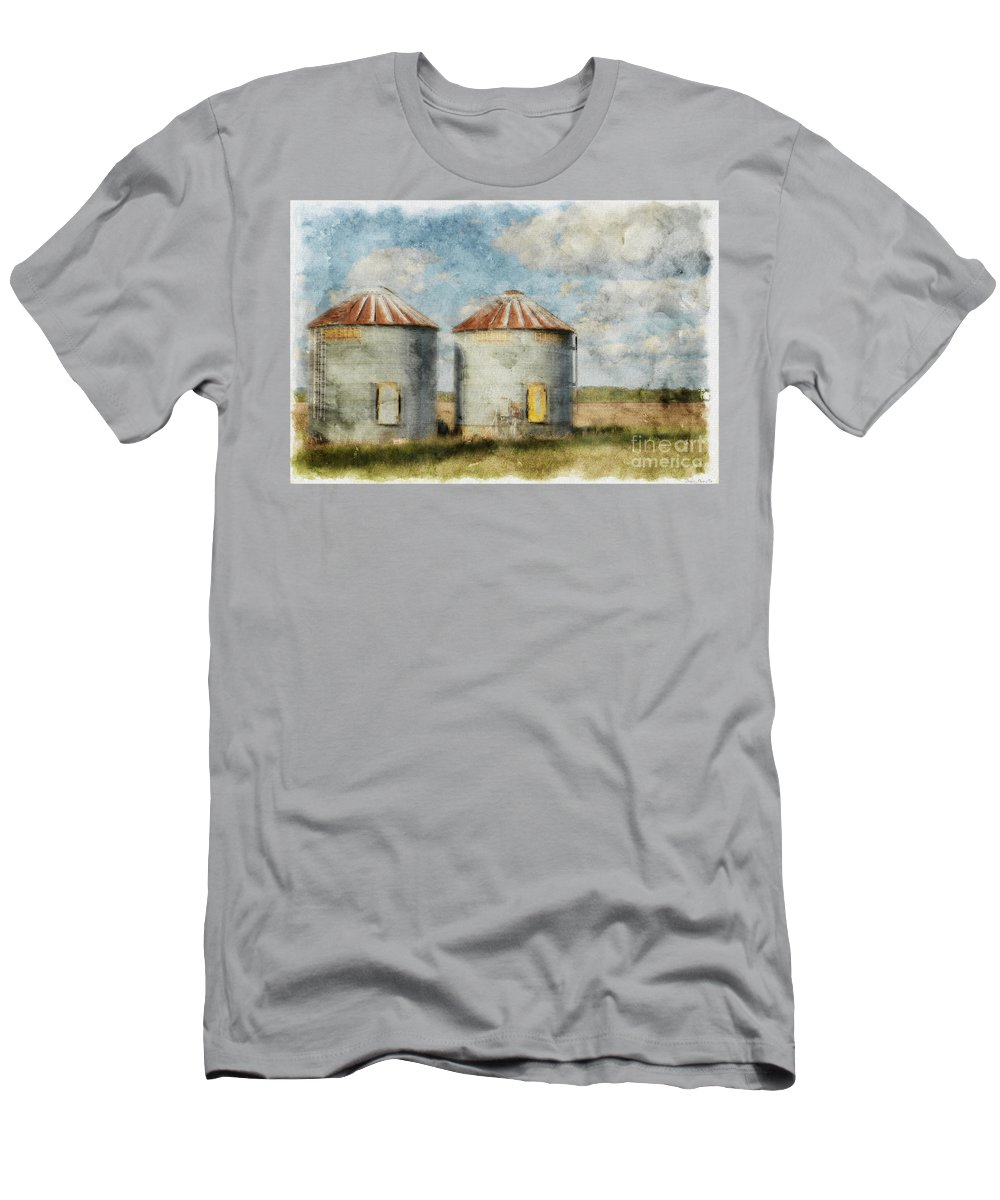 Farm Men's T-Shirt (Athletic Fit) featuring the photograph Grain Silos - Digital Paint by Debbie Portwood