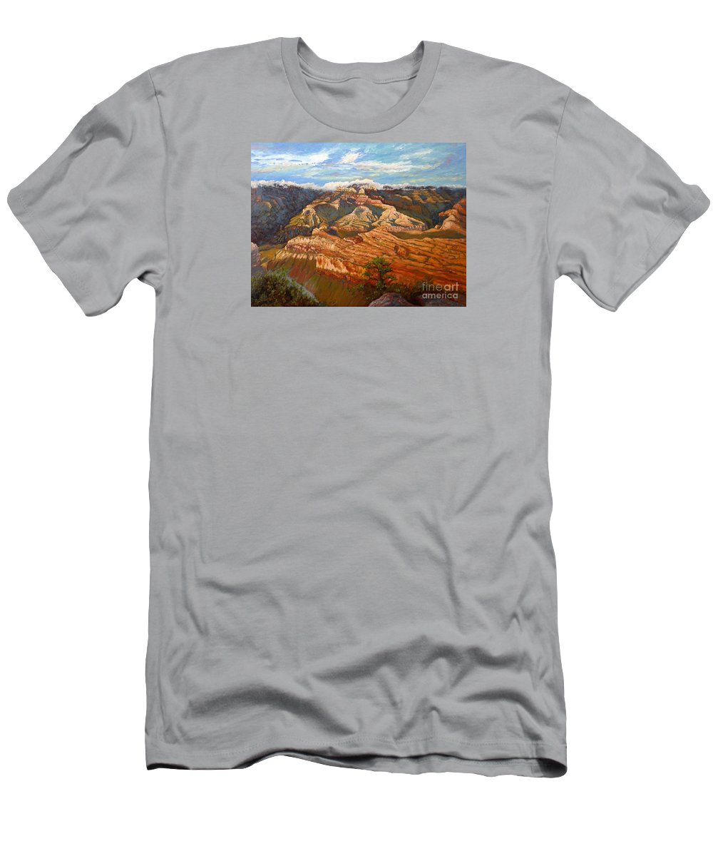 Landscape Men's T-Shirt (Athletic Fit) featuring the painting Grand Canyon Sun Light by Francesca Kee
