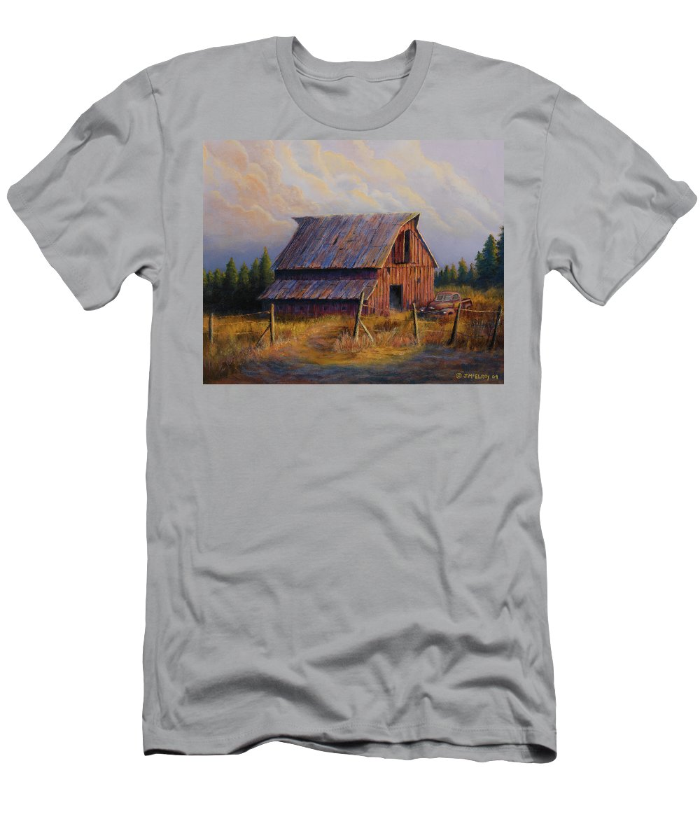 Barn Men's T-Shirt (Athletic Fit) featuring the painting Grandpas Truck by Jerry McElroy