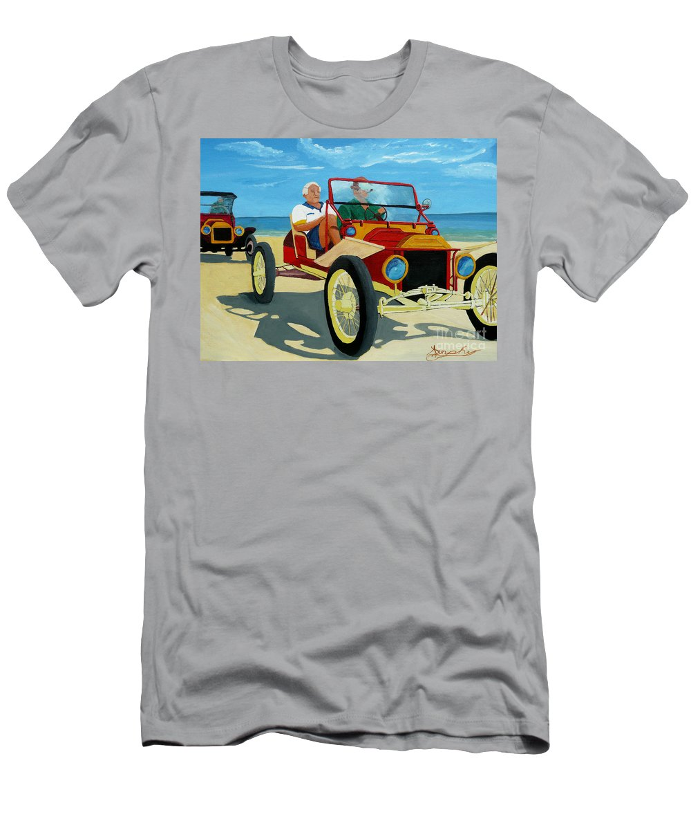 Cars Men's T-Shirt (Athletic Fit) featuring the painting Granpas Racer by Anthony Dunphy