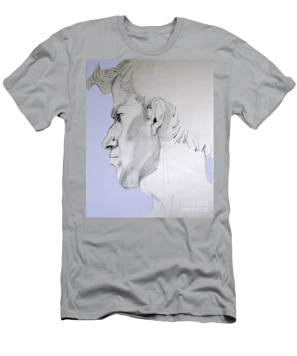 Portrait Men's T-Shirt (Athletic Fit) featuring the drawing Graphite Portrait Sketch Of A Young Man In Profile by Greta Corens