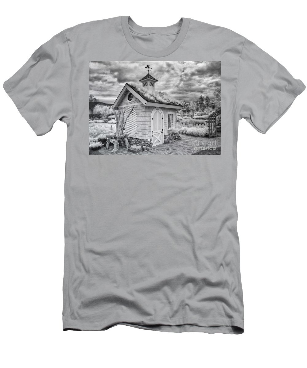 Ir Men's T-Shirt (Athletic Fit) featuring the photograph Grass Roof Shed by Claudia Kuhn