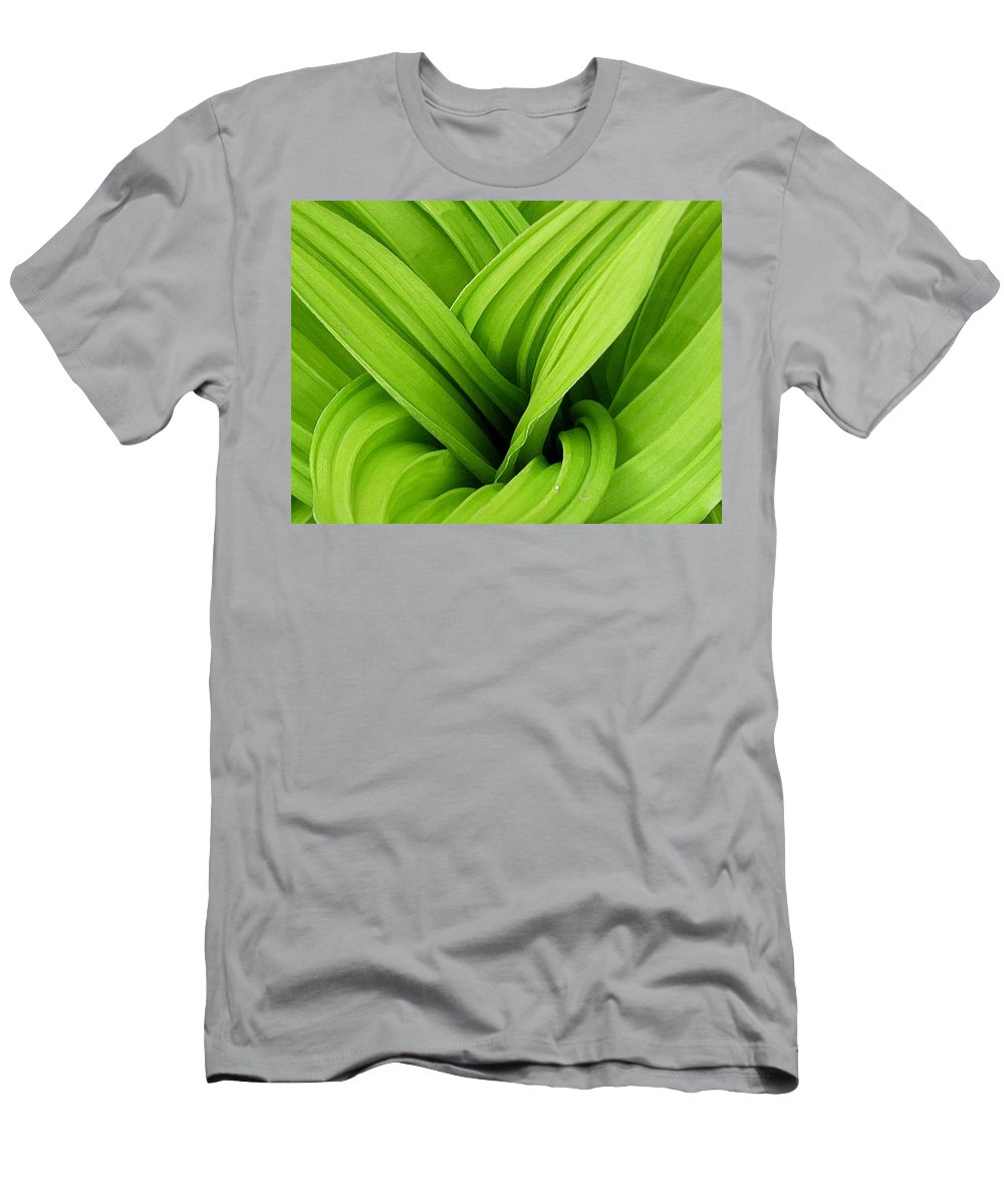 Plants Men's T-Shirt (Athletic Fit) featuring the photograph Green Folds by Karol Livote