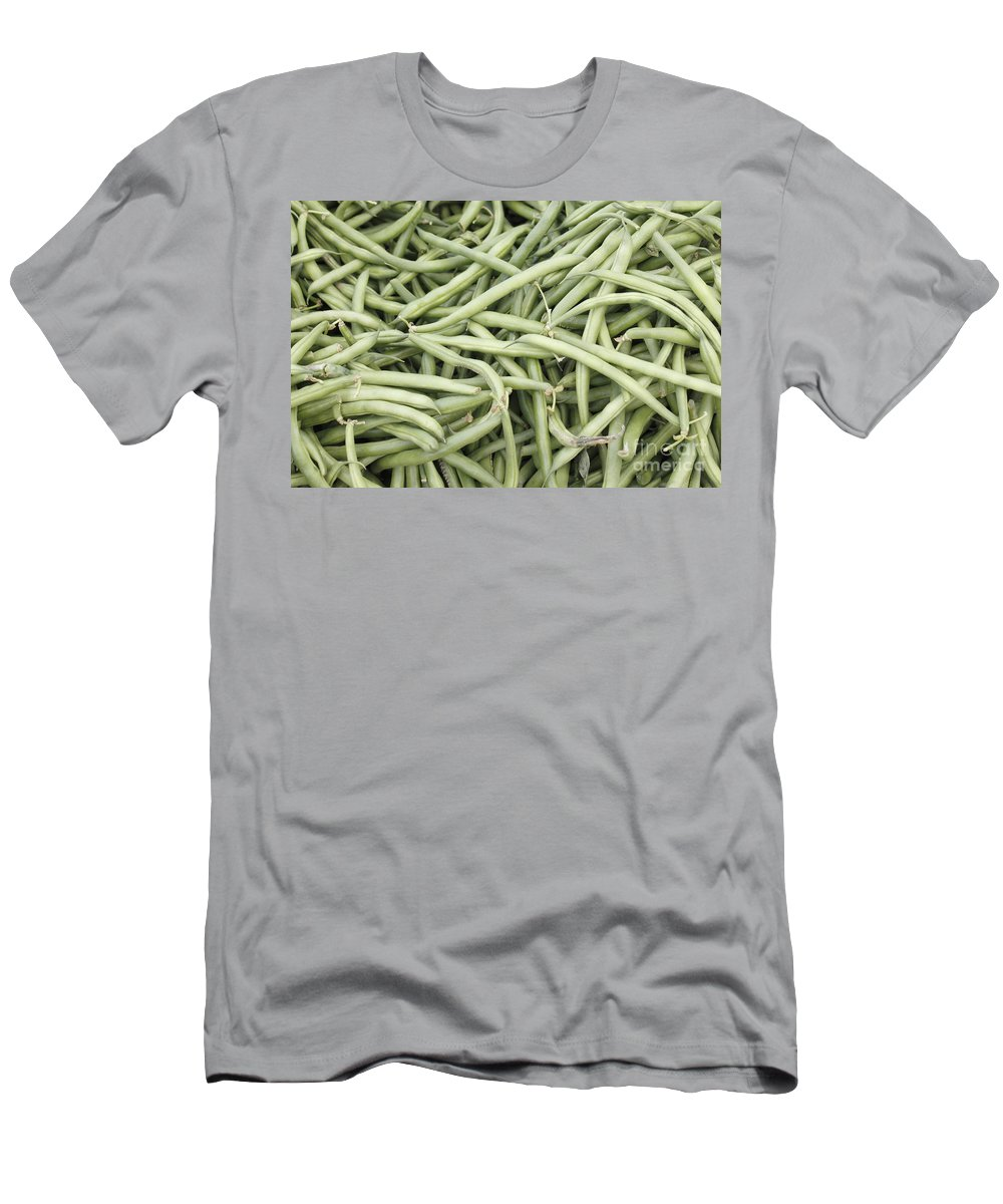 Green Men's T-Shirt (Athletic Fit) featuring the photograph Green String Beans Display by Lee Serenethos