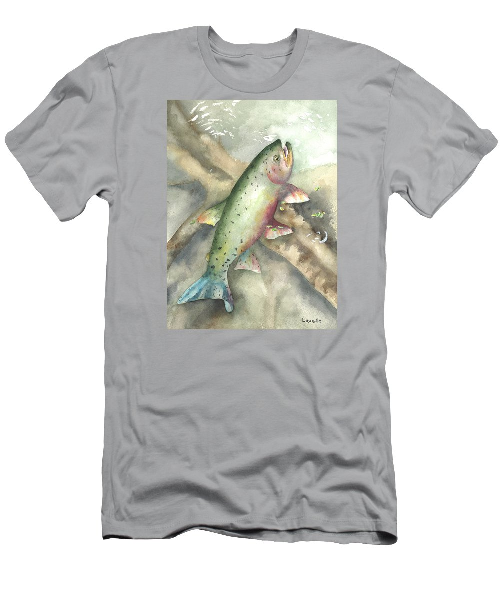 Fish Pictures Men's T-Shirt (Athletic Fit) featuring the painting Greenback Cutthroat Trout by Kimberly Lavelle