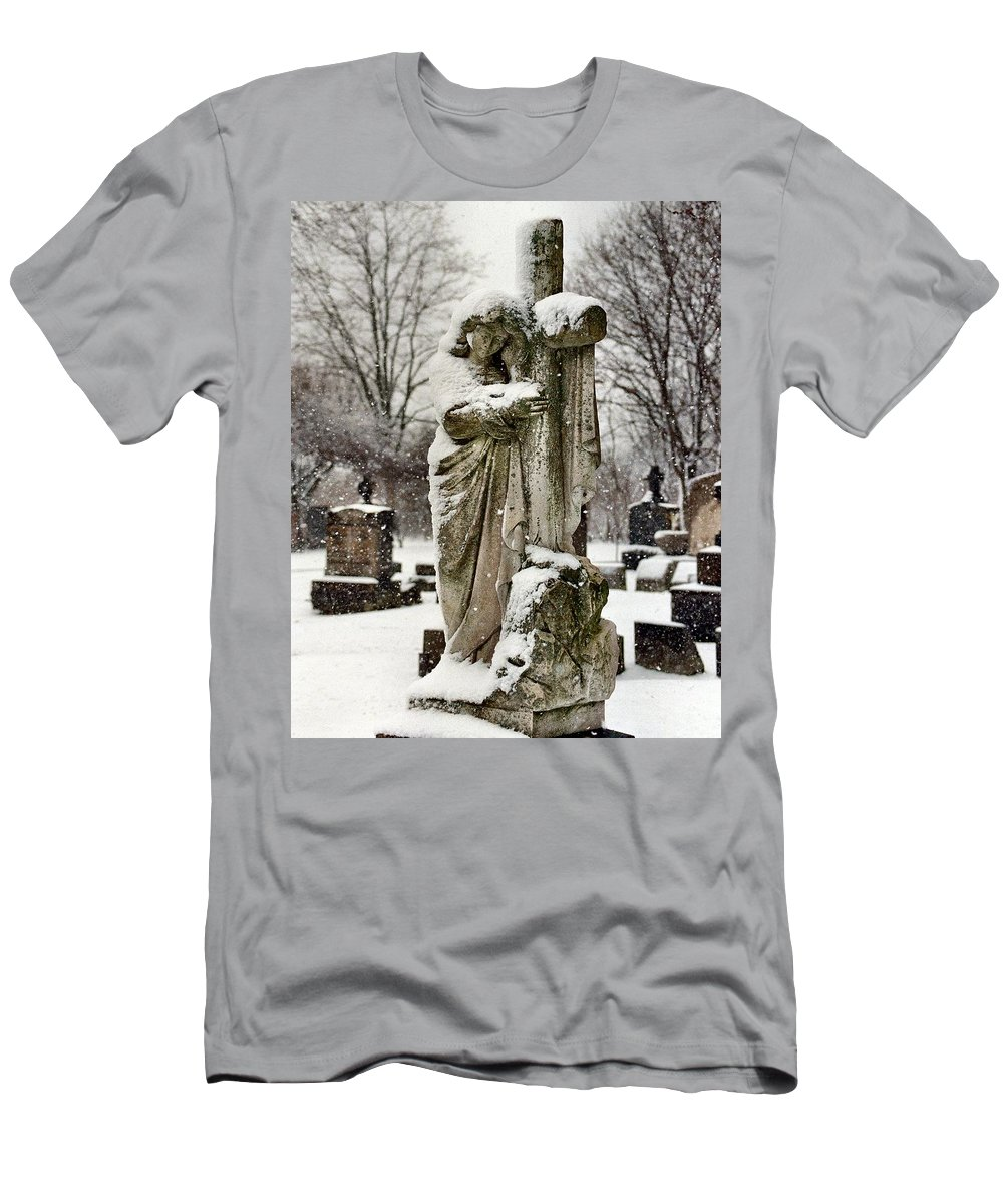 Winter Angel Men's T-Shirt (Athletic Fit) featuring the photograph Grip Of Winter by Gothicrow Images