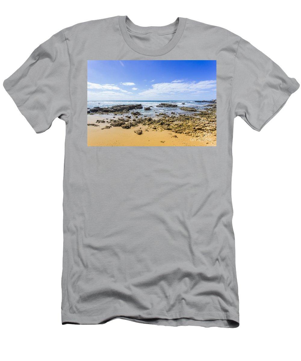 Beach Men's T-Shirt (Athletic Fit) featuring the photograph Hadera Mediterranean Beach by Sv